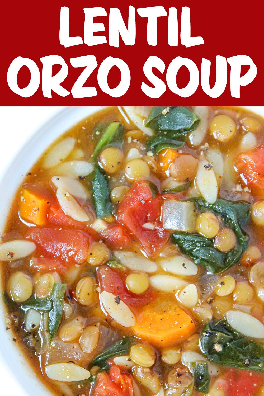 lentil orzo soup photo collage