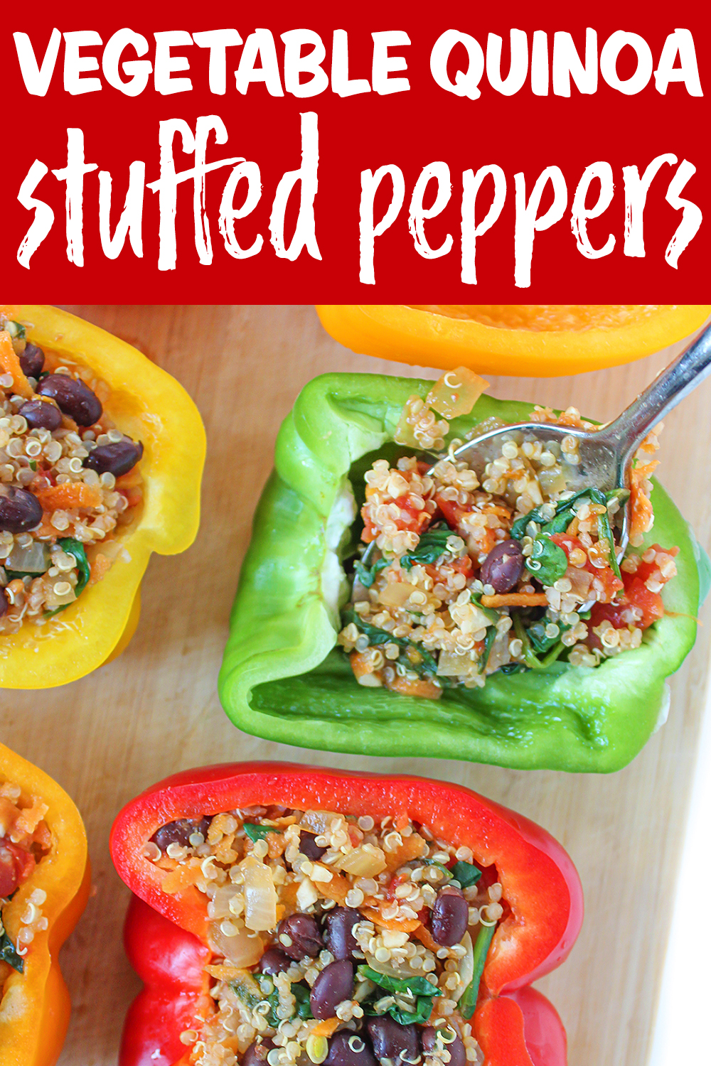 vegan stuffed peppers photo collage