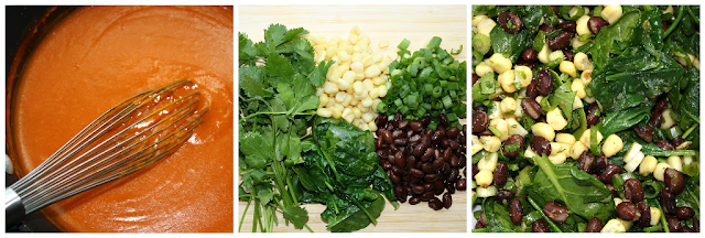 Prepping the ingredients for Black Bean Spinach Enchiladas