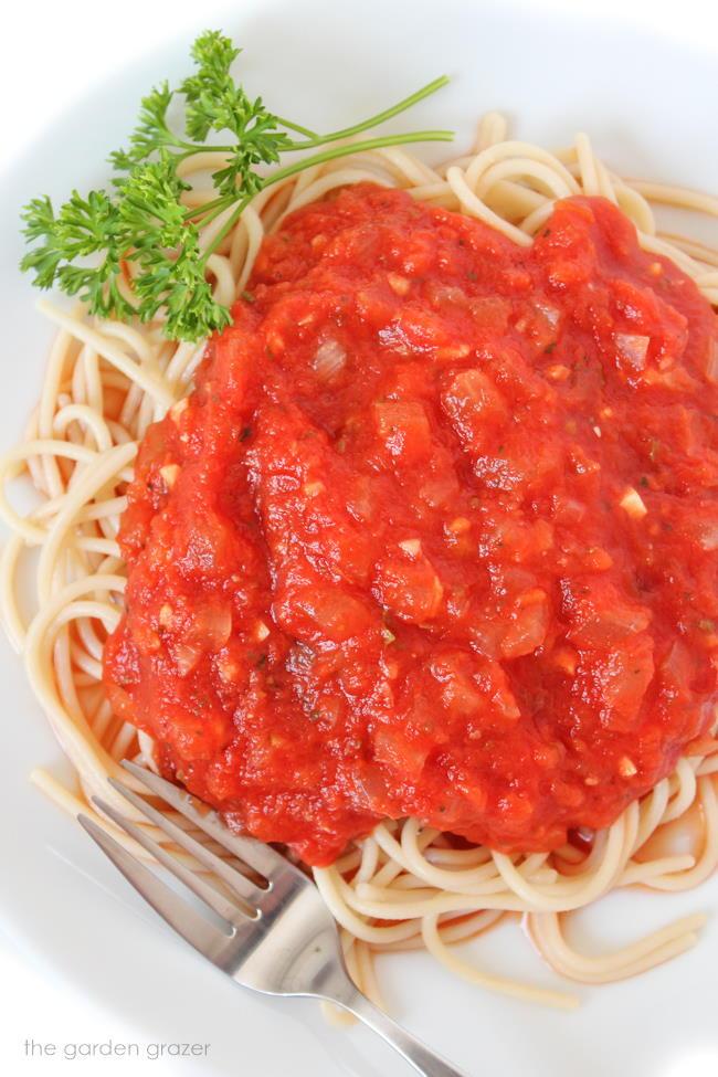 Plate of spaghetti pasta with homemade marinara sauce