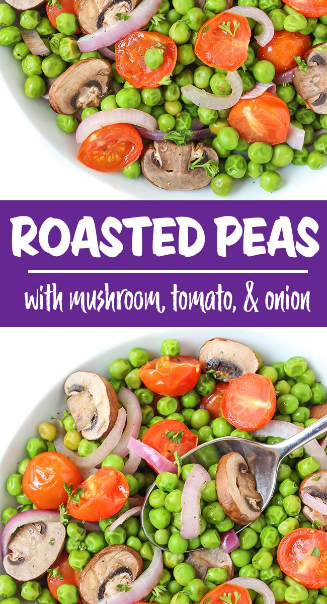 roasted peas and mushrooms photo collage