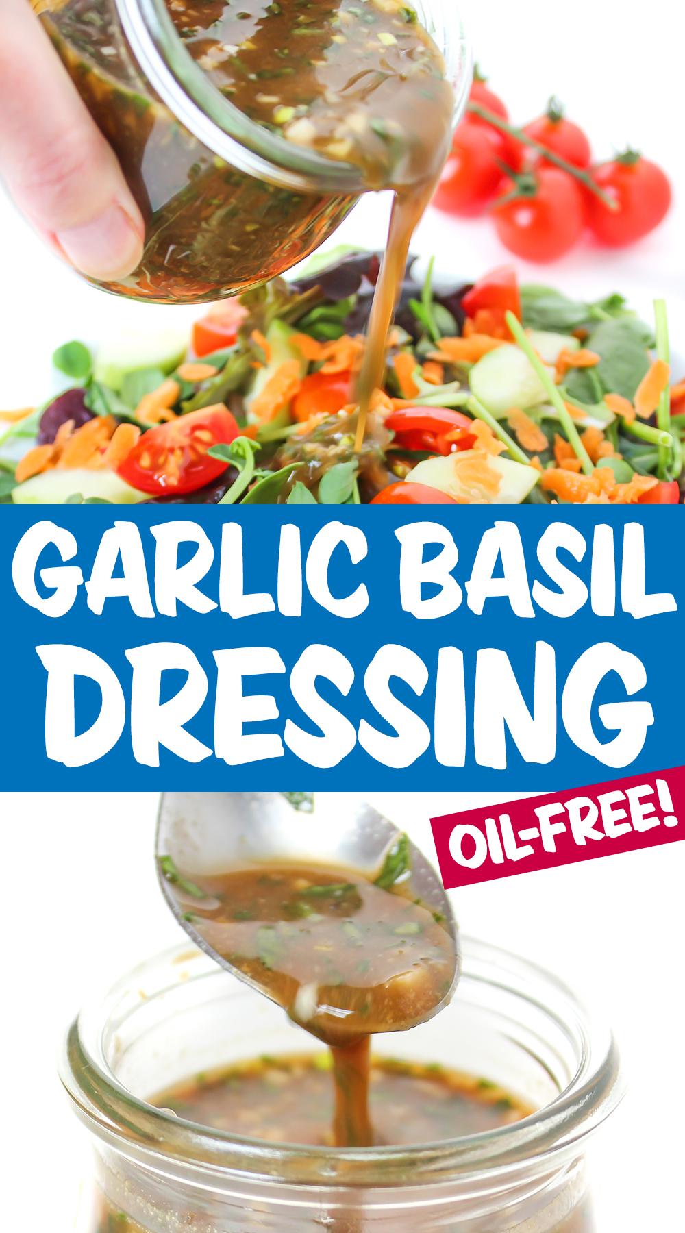basil balsamic dressing photo collage