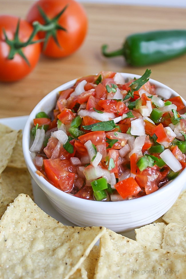 Bowl of fresh pico de gallo salsa with chips