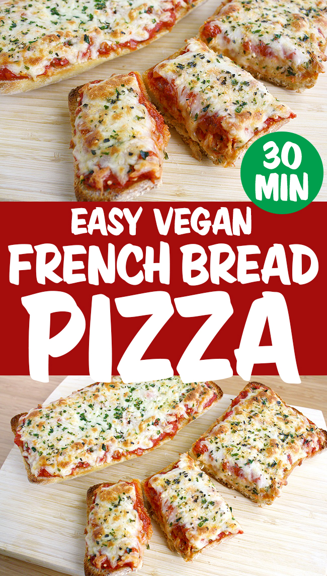 vegan french bread pizza photo collage