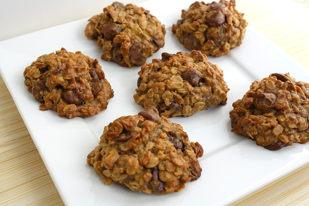 Plate of chocolate chip banana oat cookies