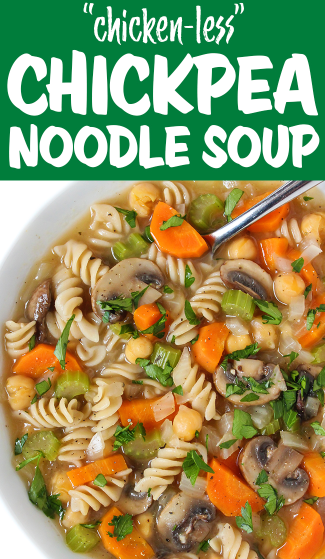 photo collage of vegan chicken-less noodle soup