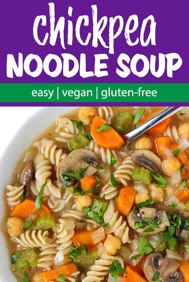 vegan chicken noodle soup photo collage