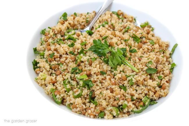 Bowl of vegan lentil quinoa salad with garlic-Dijon dressing