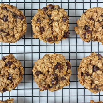Vegan banana oat cookies cooling on a rack