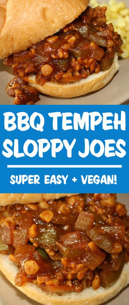 Vegan bbq tempeh sloppy joes photo collage