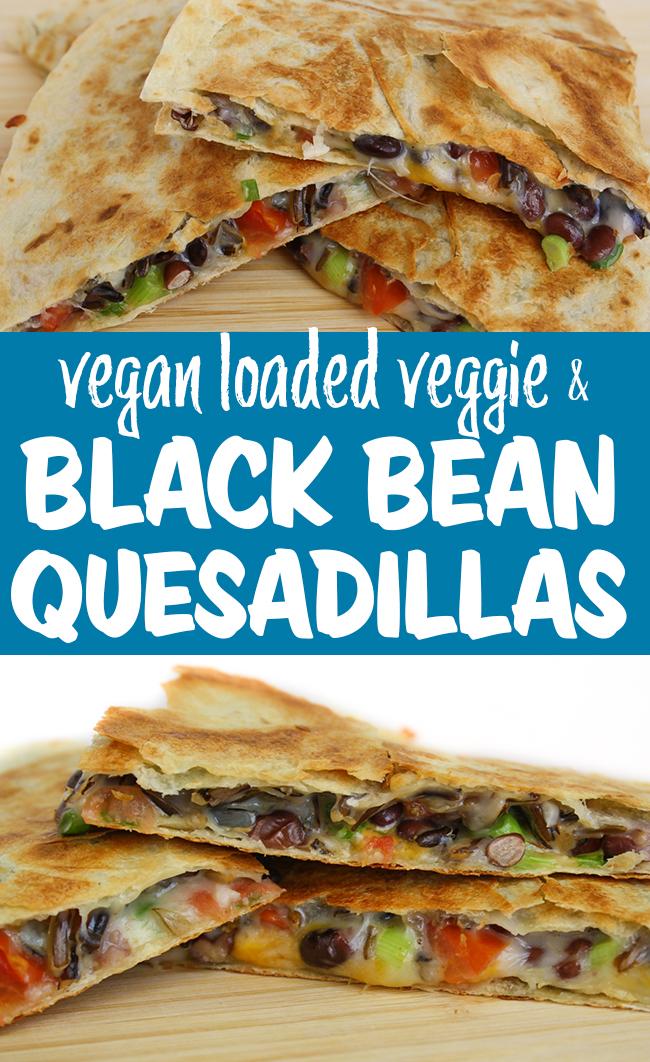 Photo collage of vegan quesadillas
