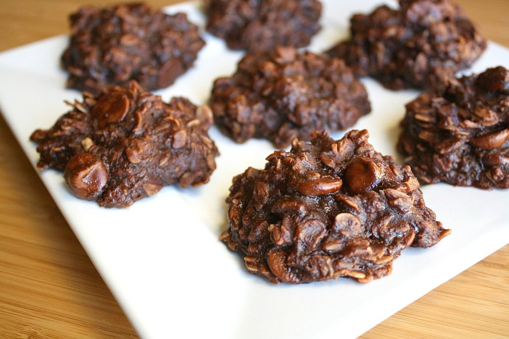 Chocolate oat banana cookies on a plate