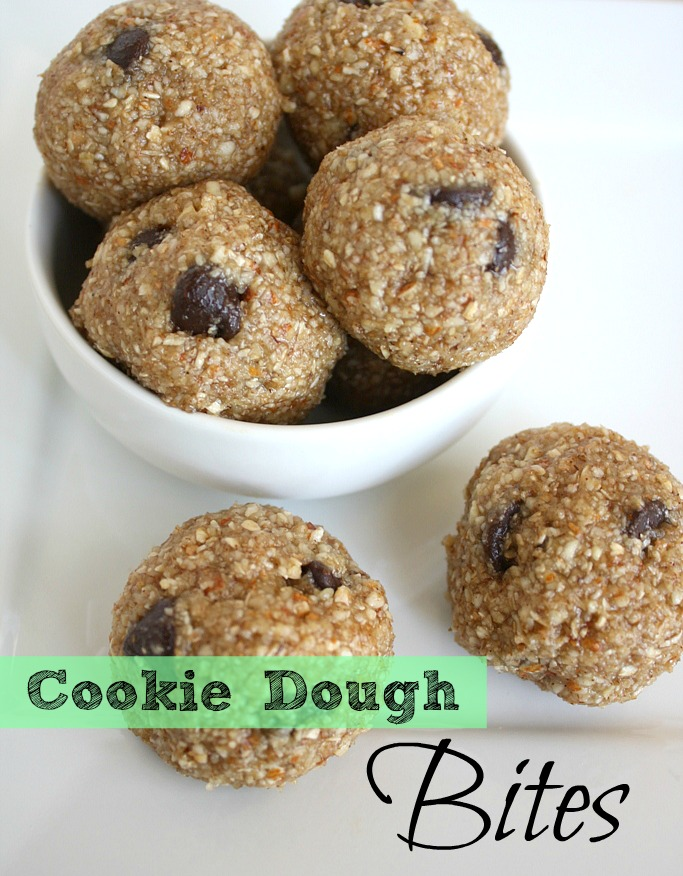 bowl of vegan raw cookie dough bites