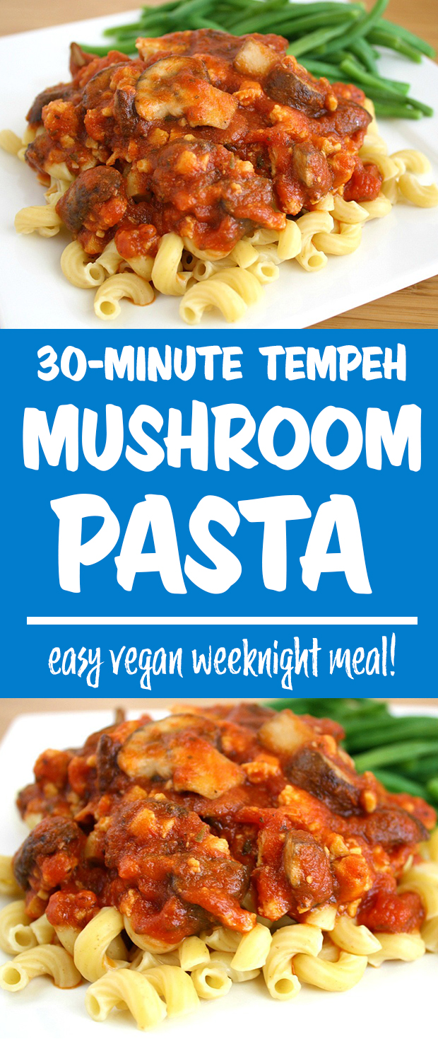 Tempeh mushroom pasta photo collage