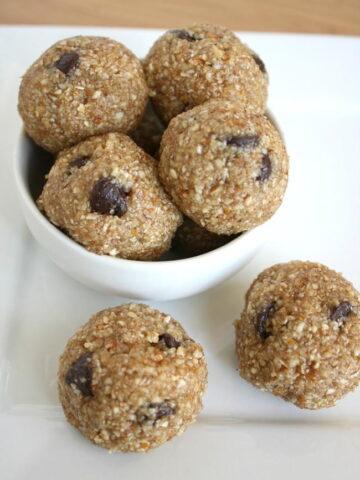 Vegan raw cookie dough bites in a small white bowl