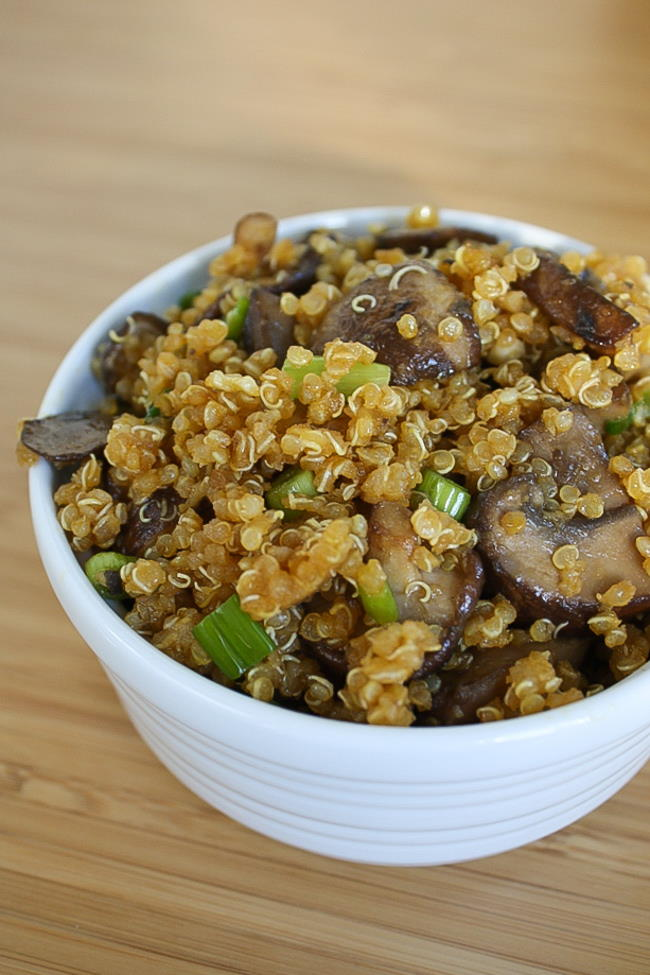 Vegan Asian-style toasted quinoa with mushrooms in a bowl