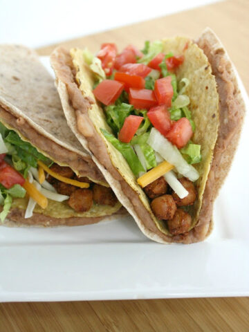 Vegan chickpea tacos on a plate