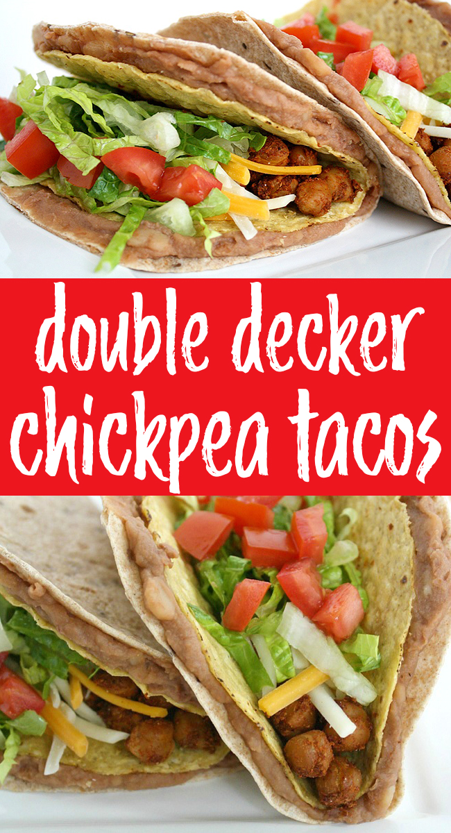 photo collage of double decker chickpea tacos