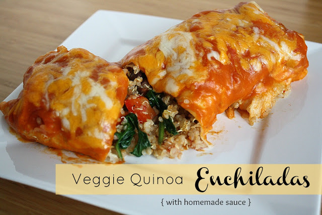 Vegan vegetable quinoa enchiladas with homemade sauce on a plate