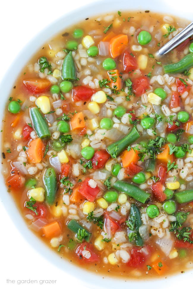 Vegetable Barley Soup in a bowl with spoon