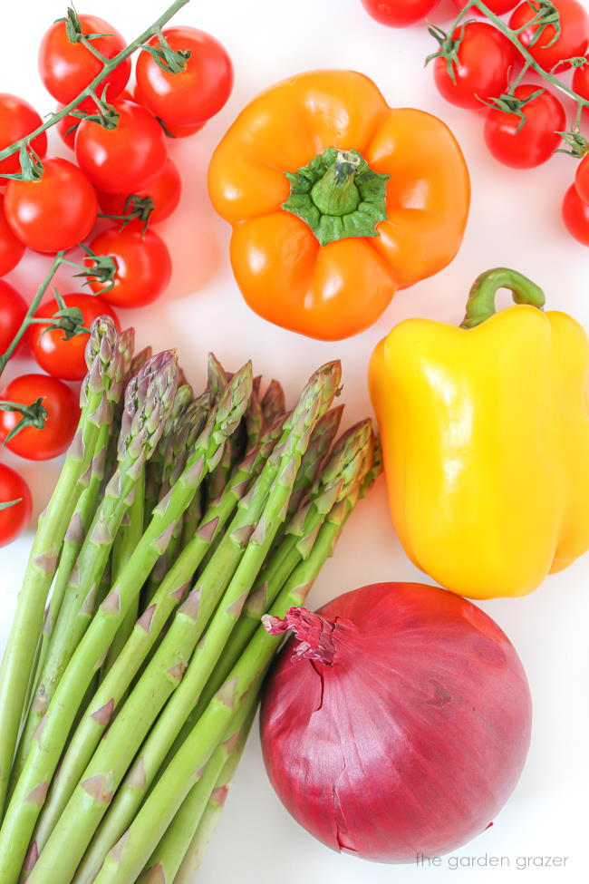 Raw vegetable ingredients for quinoa roasted vegetables dish