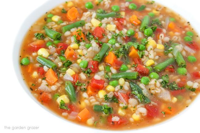 Vegan vegetable barley soup in a bowl