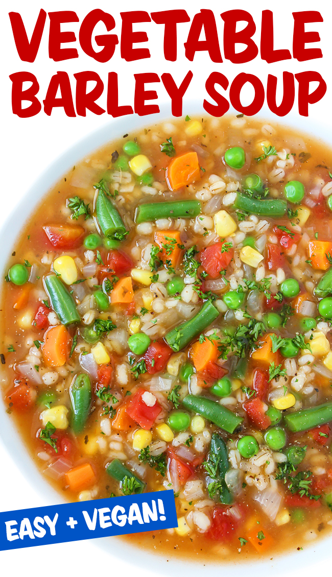 Vegetable barley soup photo collage