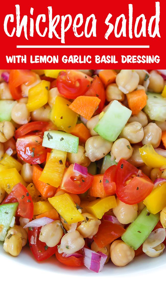 Chickpea Salad with lemon garlic basil dressing