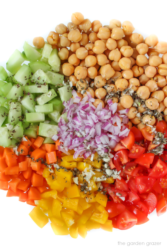 Ingredients in a bowl for vegan chickpea salad before mixing together