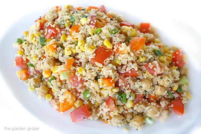Lemon basil quinoa salad on a white plate