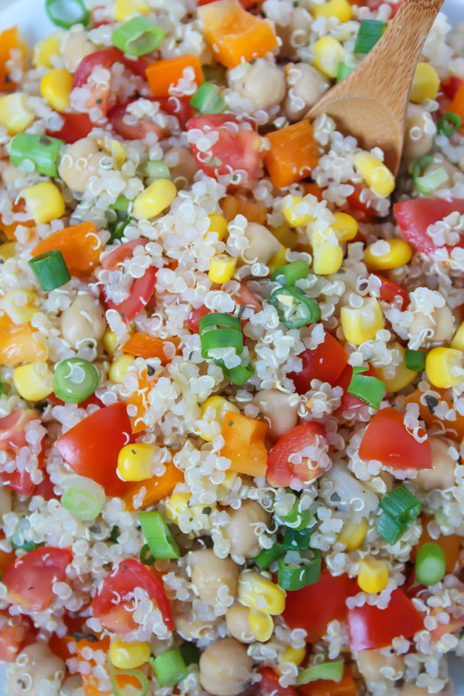 Close up of vegan quinoa salad