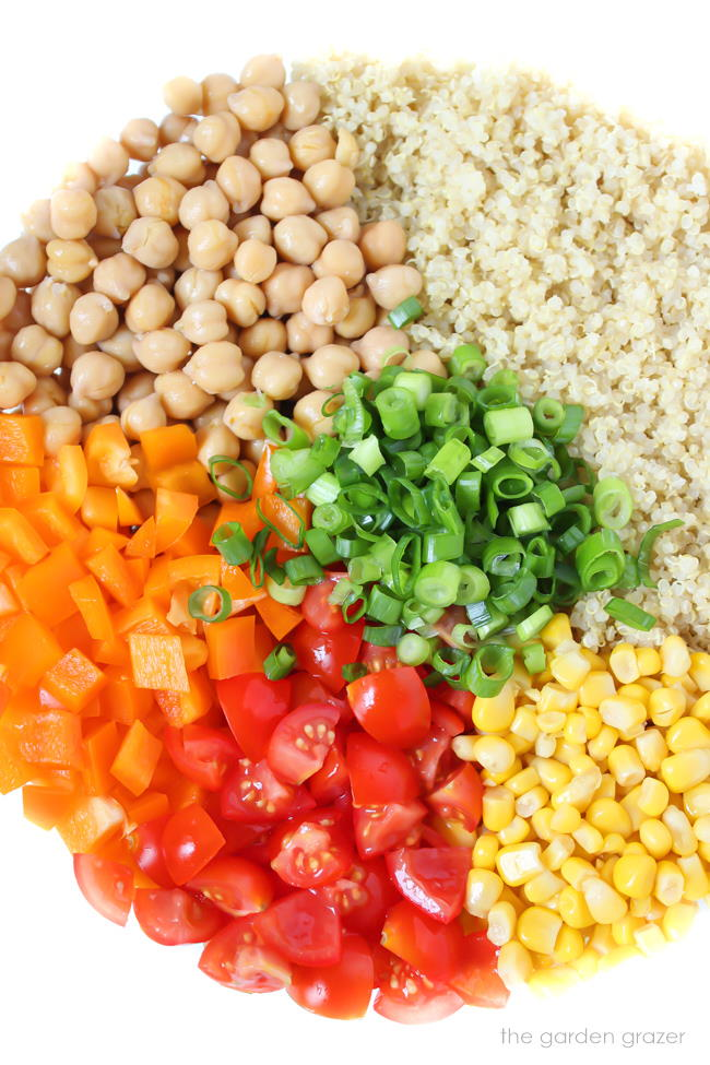 Ingredients in bowl for quinoa vegetable salad