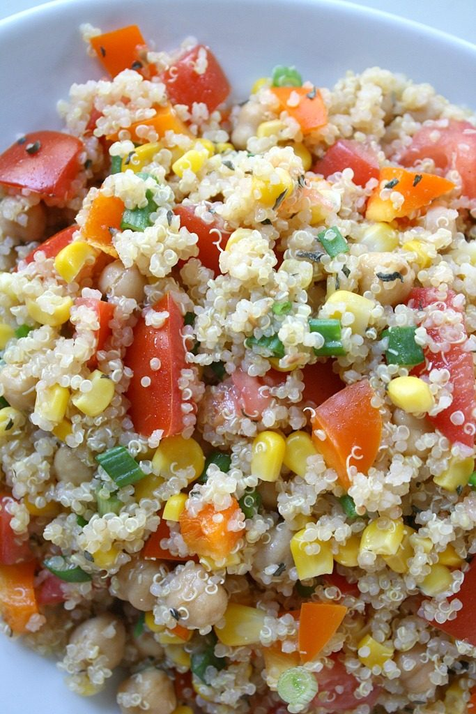 Quinoa vegetable salad on a plate