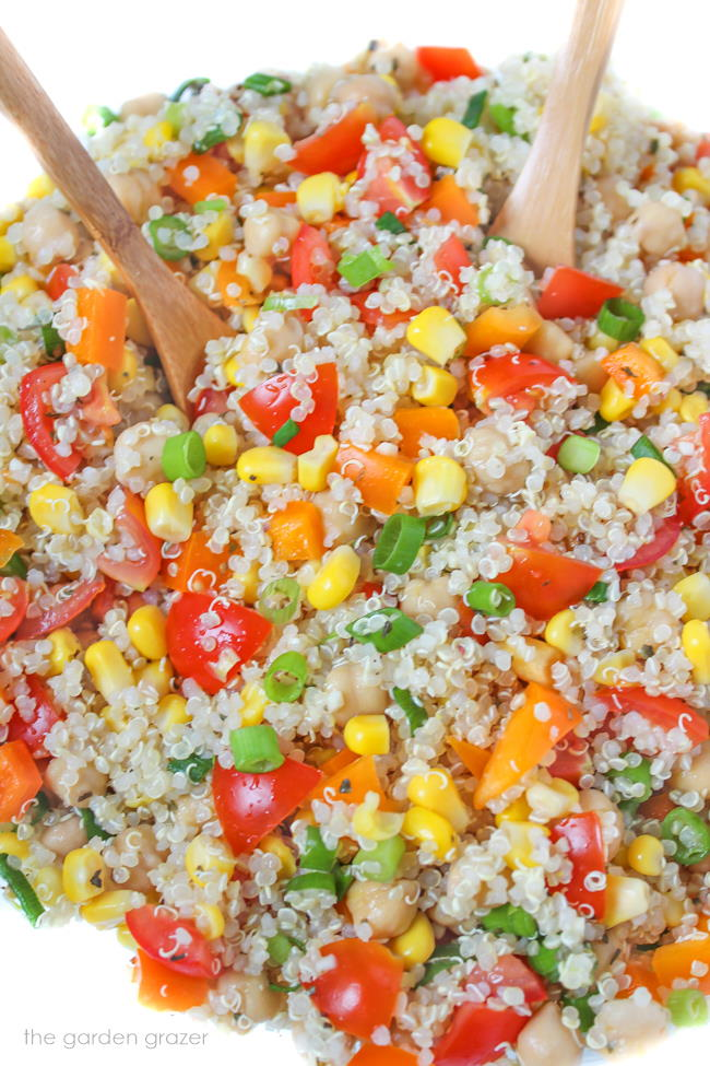 Vegan quinoa vegetable salad with lemon dressing in a bowl