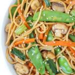Vegan Asian style garlic spaghetti in a bowl