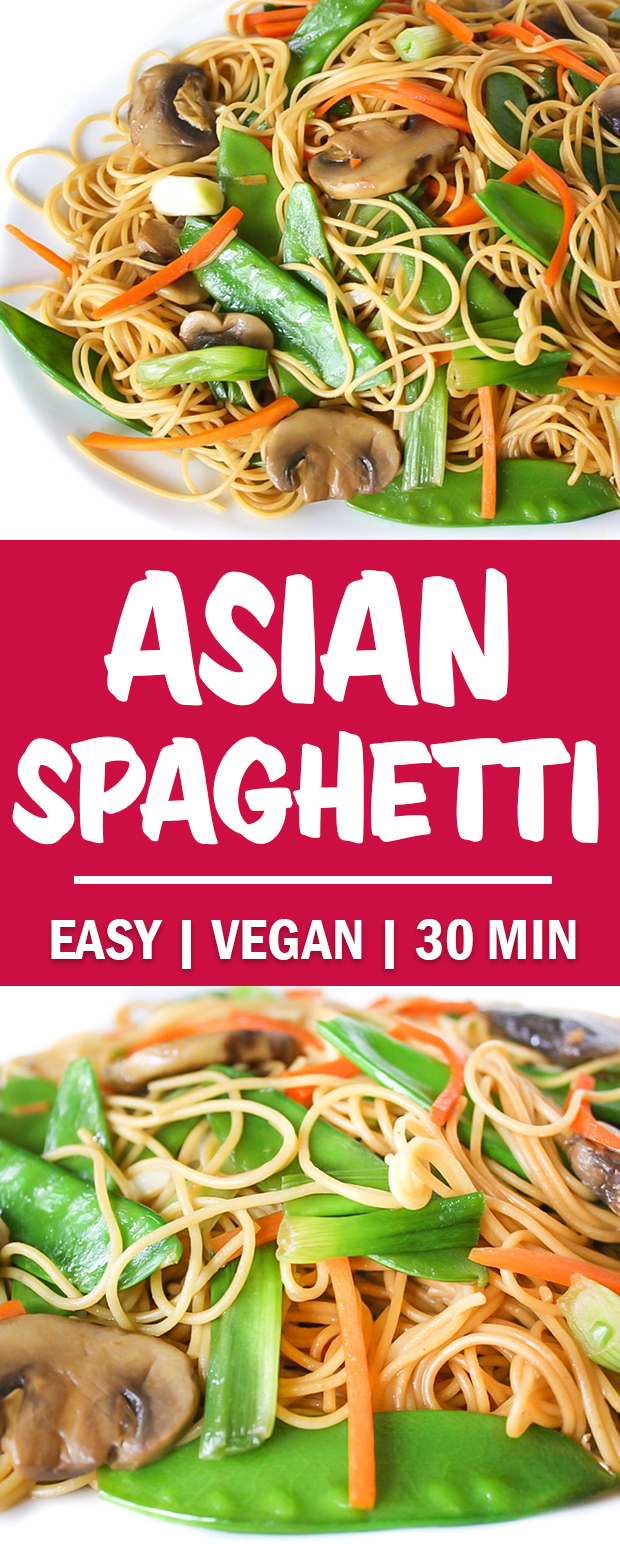 photo collage of Asian Spaghetti