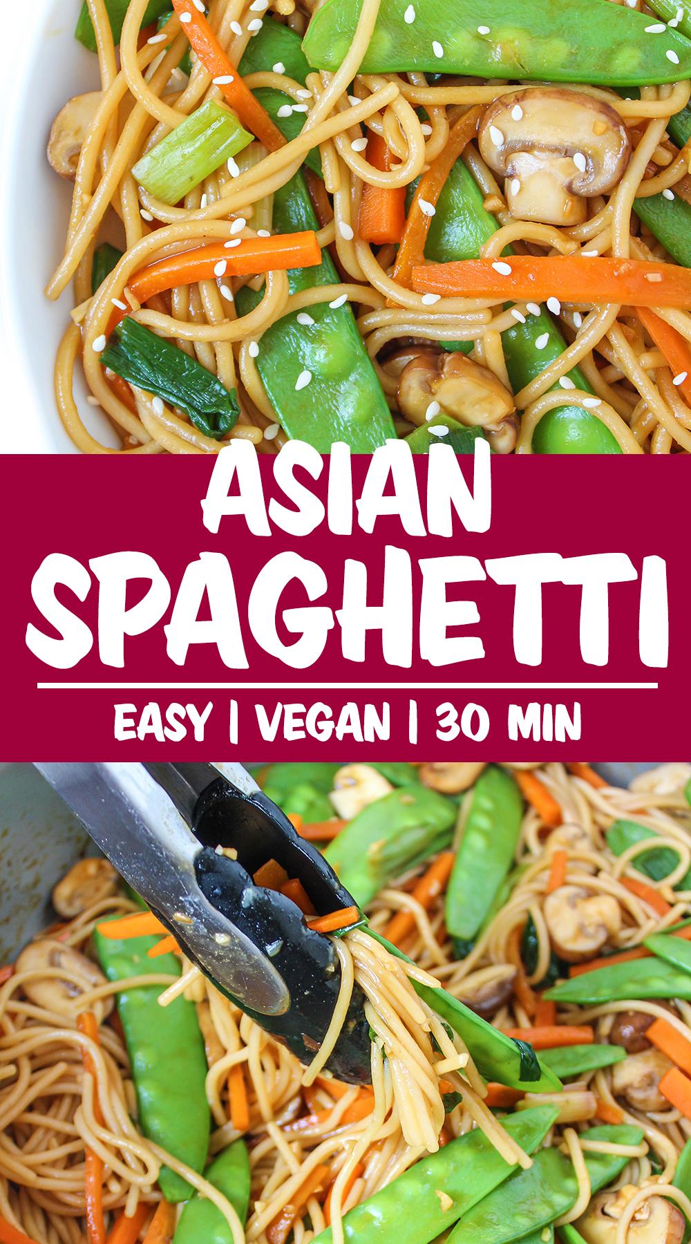 Vegan Asian-inspired spaghetti photo collage