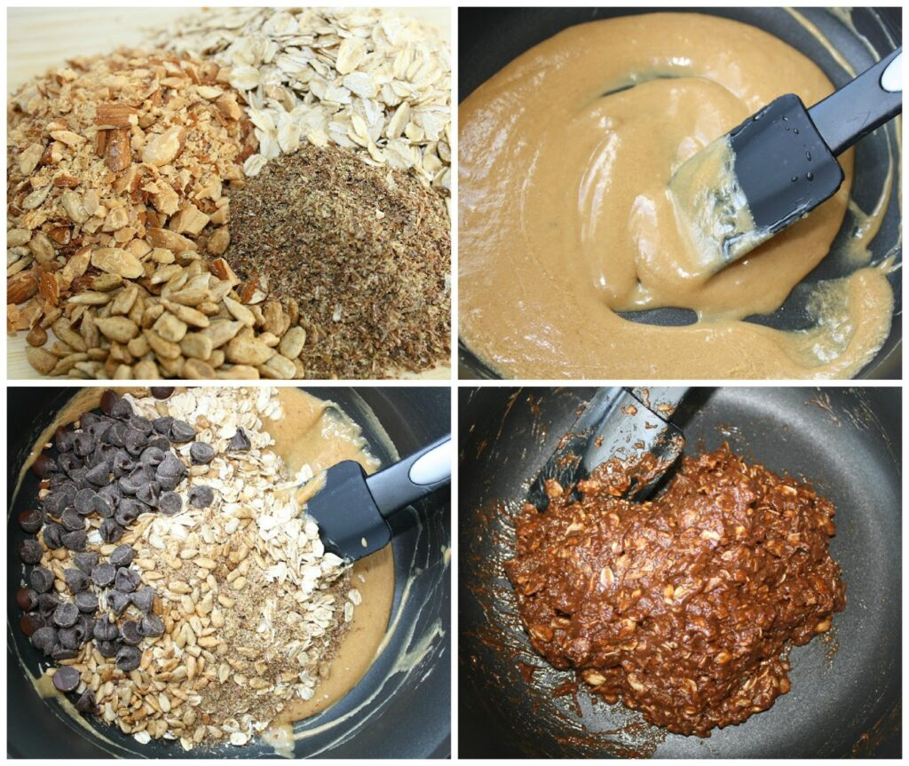 Sequence of preparation for chocolate oat balls