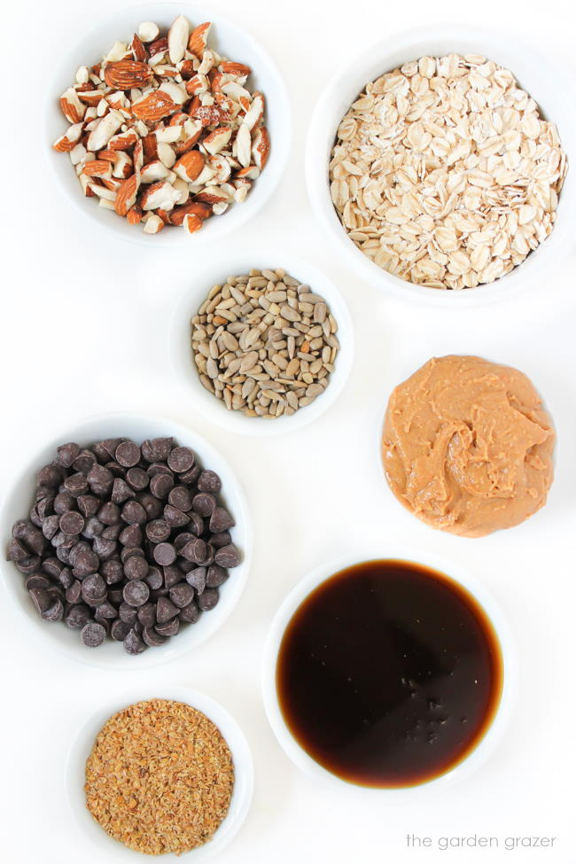 Ingredients laid out for chocolate peanut butter oat balls