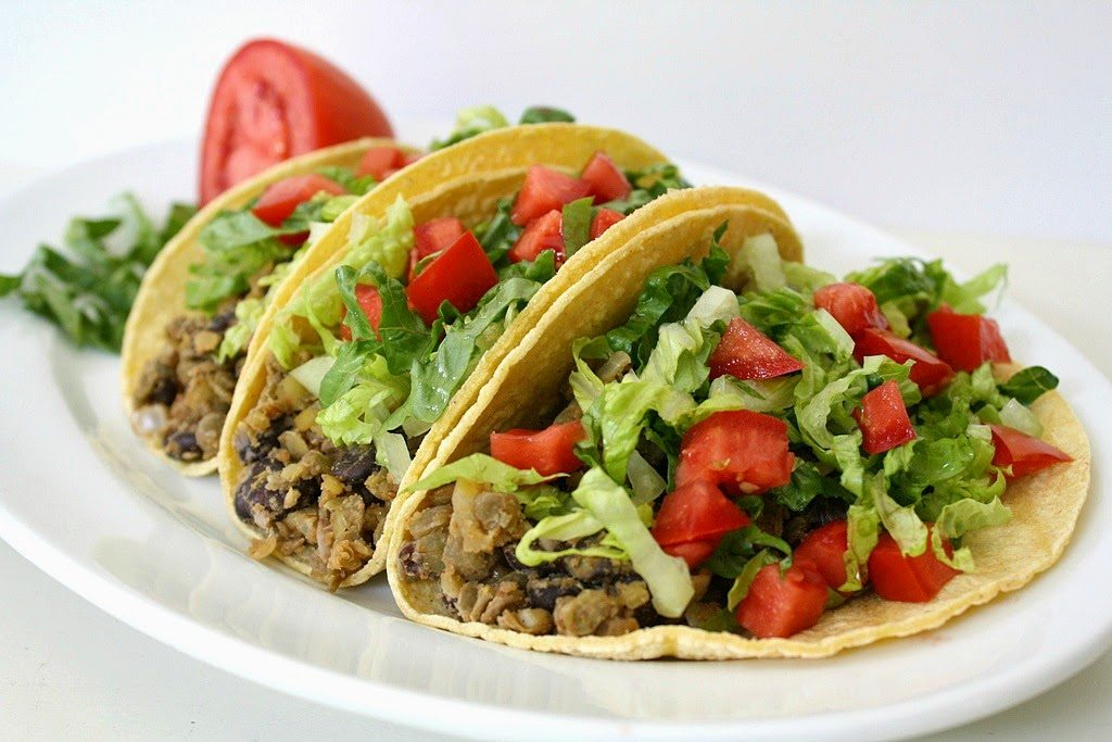 Vegan black bean lentil tacos on a plate