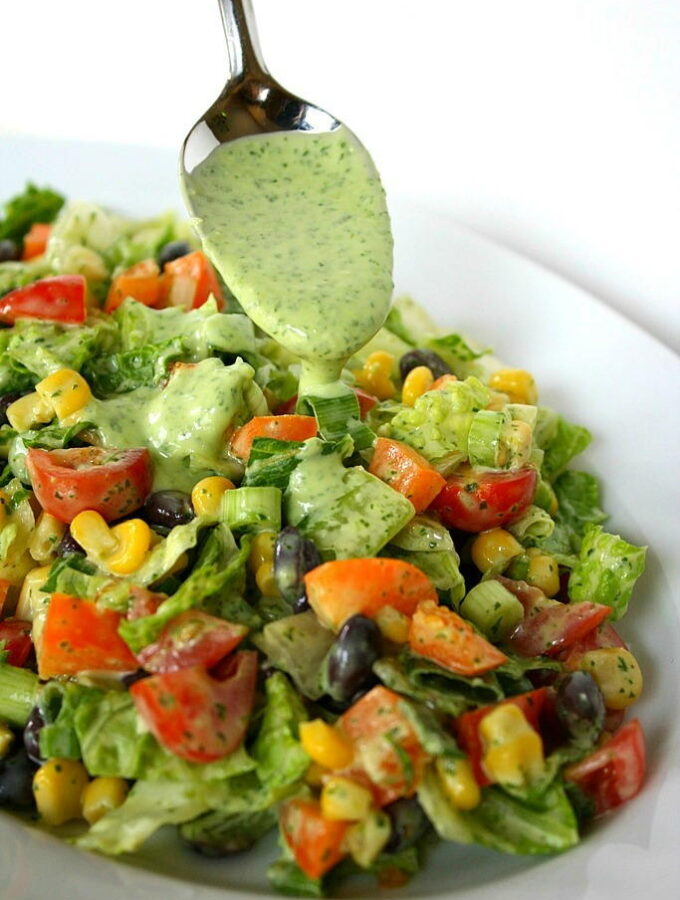 Southwestern Chopped Salad with creamy avocado dressing on plate