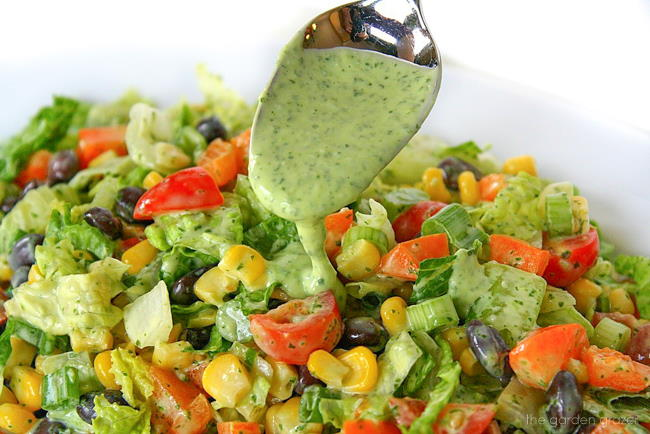 Southwest salad on a plate with avocado dressing