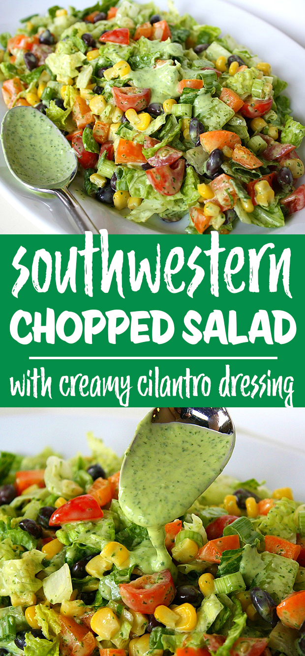 southwestern chopped salad with creamy cilantro dressing