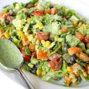 Southwestern Chopped Salad on a plate with spoon