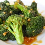 Plate of broccoli with Asian-style garlic sauce