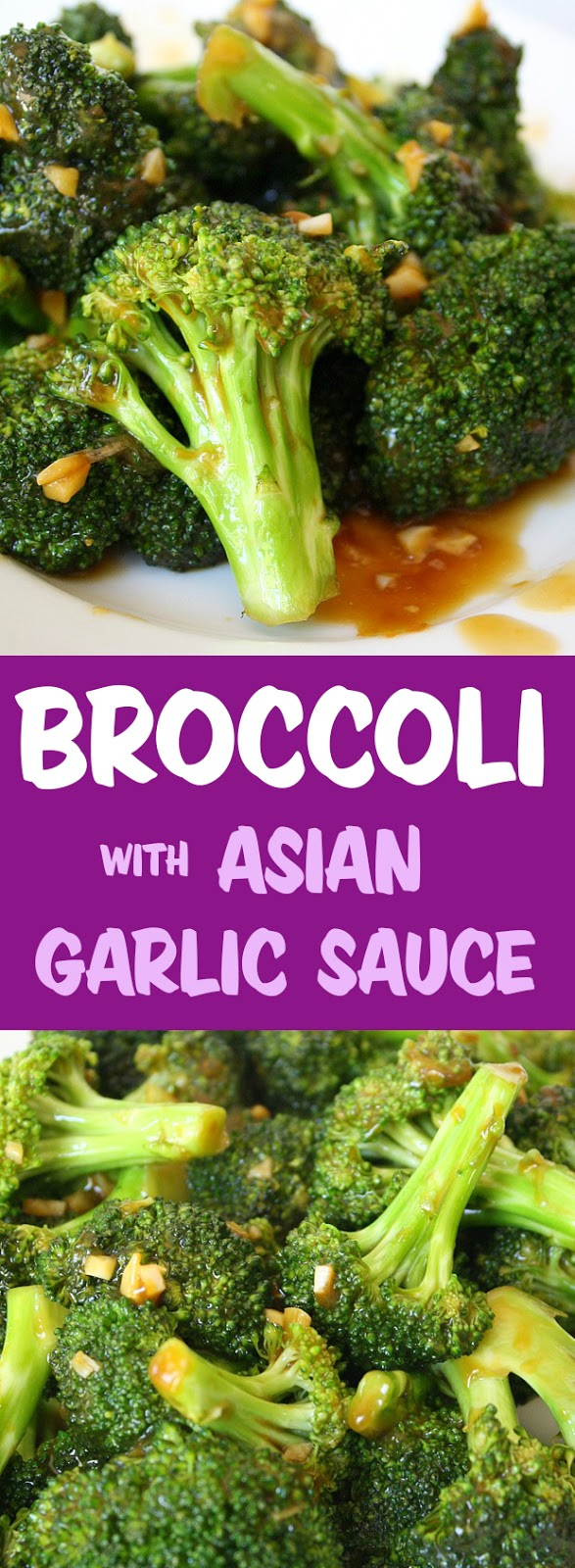 Photo collage of broccoli with Asian garlic sauce