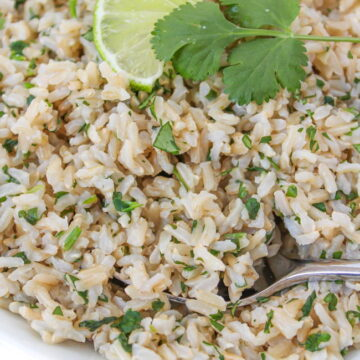 bowl of cilantro lime brown rice with spoon