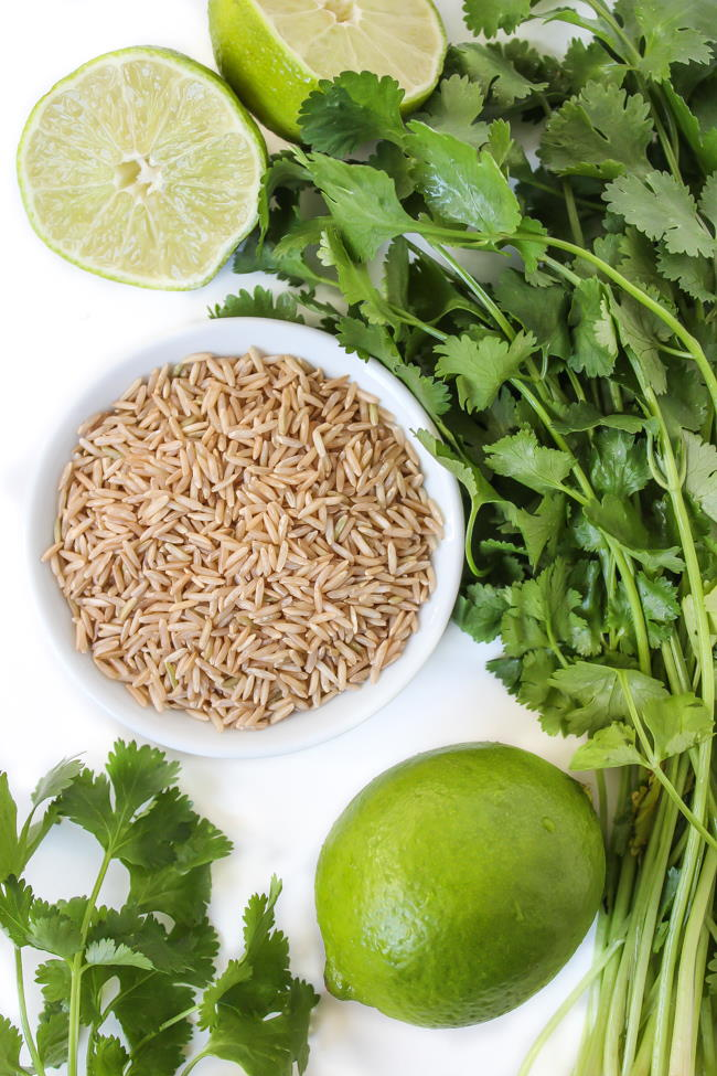 Ingredients for cilantro lime brown rice