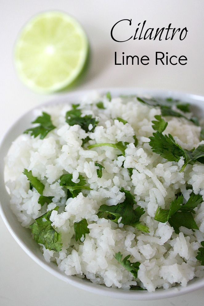 Vegan cilantro lime rice in a bowl with fresh lime