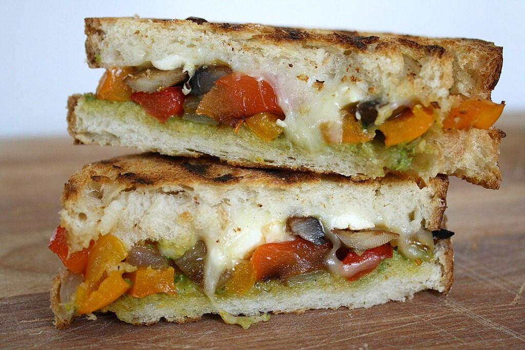 Roasted vegetable panini with pesto and vegan mozzarella